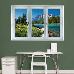 Banff Mountains in Bloom: Instant Window Fathead Wall Decal
